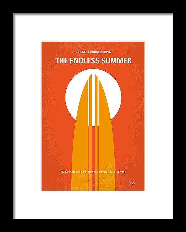Endless Framed Print featuring the digital art No274 My The Endless Summer minimal movie poster by Chungkong Art