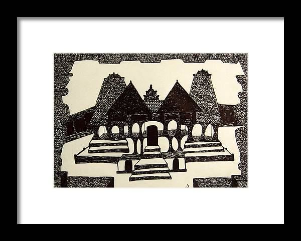 Tamil Temple Framed Print featuring the drawing No.389 by Vijayan Kannampilly