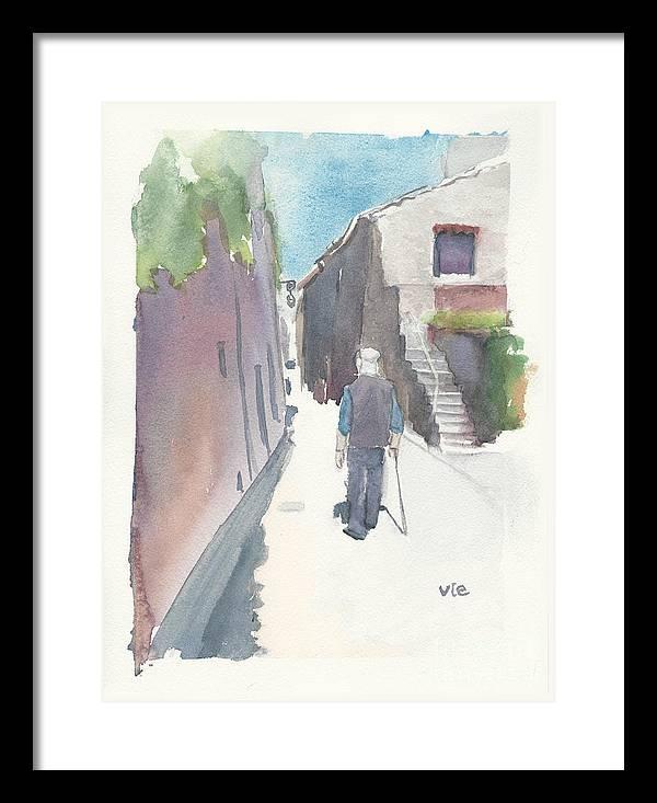 Venasque Framed Print featuring the painting No.8 Sur La Route De Venasque by Sylvie Levesque