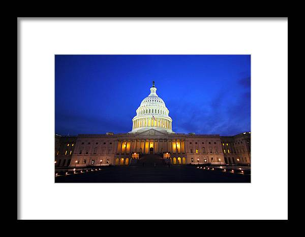 Capitol Framed Print featuring the photograph Nocturnal Art by Mitch Cat