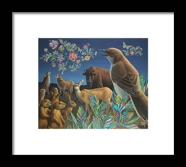 Mockingbird Framed Print featuring the painting Nocturnal Cantata by James W Johnson