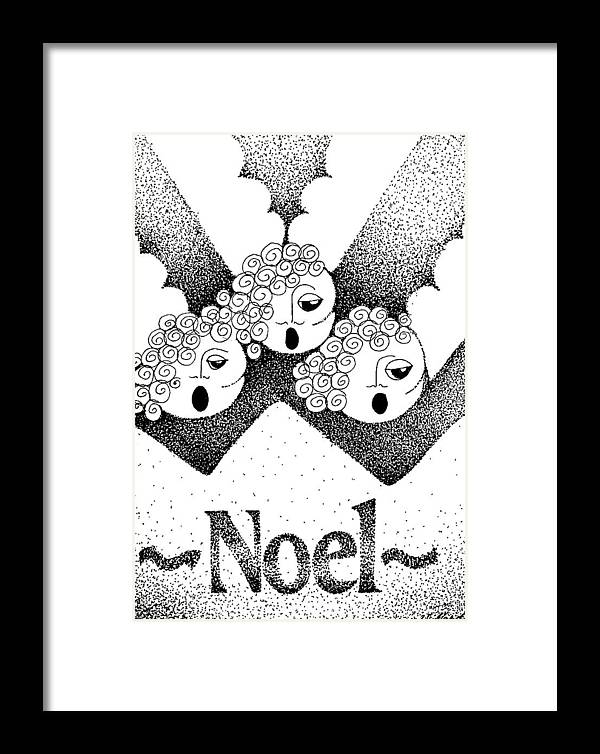Noel Design Framed Print featuring the drawing Noel Angels by Joy Bradley