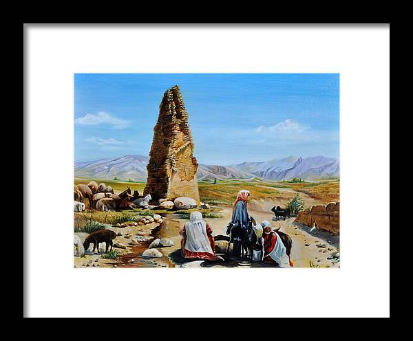Framed Print featuring the painting Nomads by Khosrow Azarpour