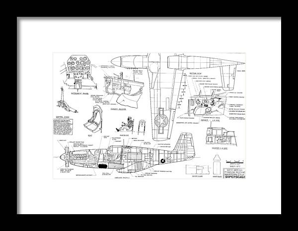 North American Mustang P51-b Schematic Diagram Framed Print on