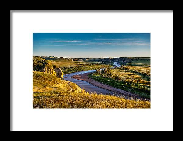 Badlands Framed Print featuring the photograph North Dakota Badlands by Rruntsch