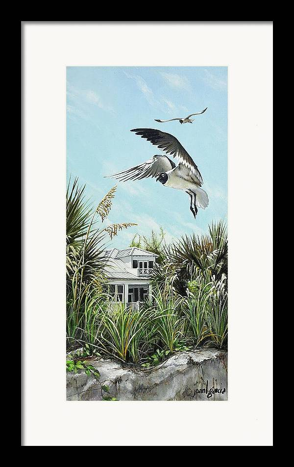 Bird Framed Print featuring the painting North Shore Landing by Joan Garcia