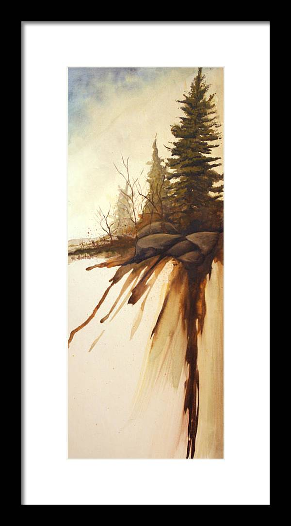 Rick Huotari Framed Print featuring the painting North Woods Pines by Rick Huotari