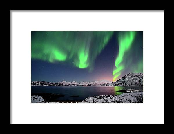 Tranquility Framed Print featuring the photograph Northern Lights And Moonlit Landscape by John Hemmingsen