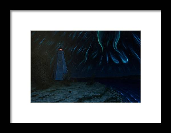 Landscape Framed Print featuring the painting Northern Lights Tobermory by Michael Marcotte