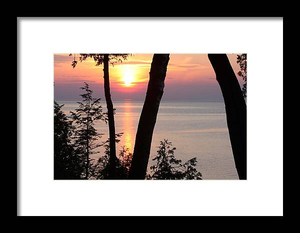 Lake Michigan Framed Print featuring the photograph Northern Sunset by Sarah Vandenbusch