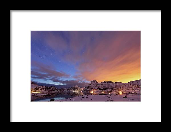 Scenics Framed Print featuring the photograph Norway Lofoten At Night With Burning Sky by Spreephoto.de