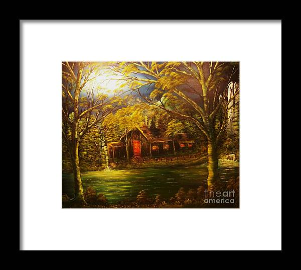 Cottage Framed Print featuring the painting Norwegian Evening Glow- Original Sold - Buy Giclee Print Nr 31 Of Limited Edition Of 40 Prints by Eddie Michael Beck