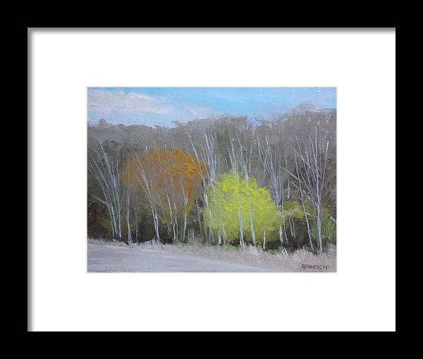 Winter Woods Framed Print featuring the painting Not Quite Spring by Robert Rohrich