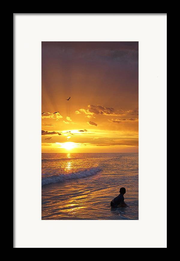 Children Framed Print featuring the painting Not Yet - Sunset Art By Sharon Cummings by Sharon Cummings