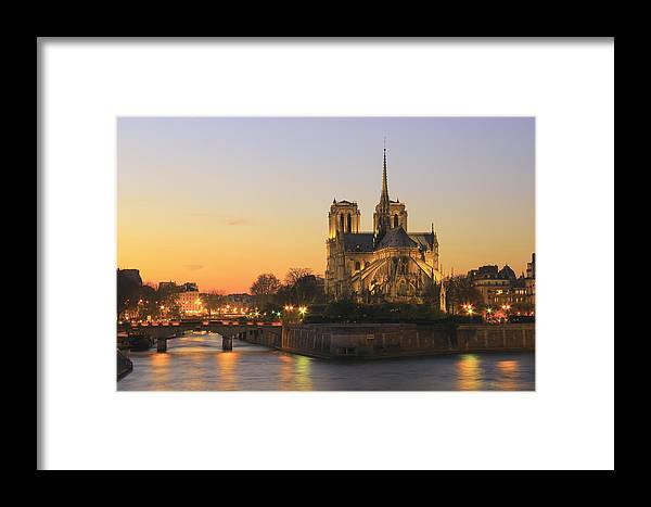 Architecture Framed Print featuring the photograph Notre Dame Cathedral At Sunset Paris France by Ivan Pendjakov