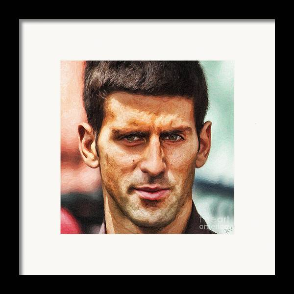 Novak Djokovic Framed Print featuring the painting Novak Djokovic by Nishanth Gopinathan