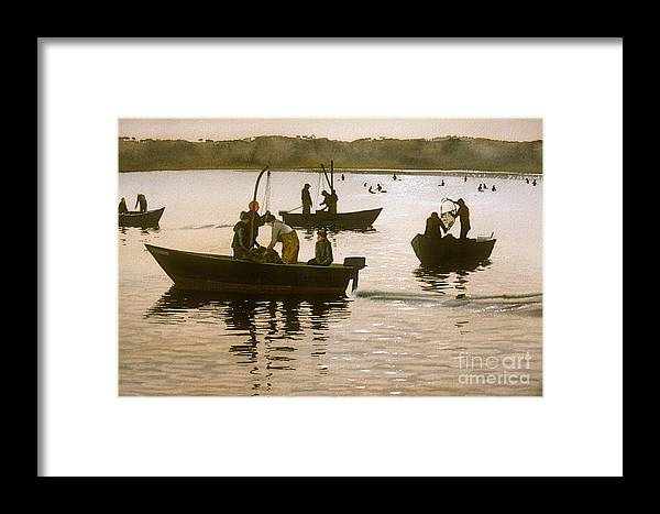 Boats Framed Print featuring the painting November Morn by Karol Wyckoff