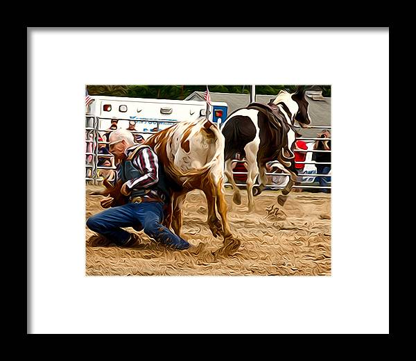 Steer Wrestler Framed Print featuring the photograph Now For The Roll by Alice Gipson
