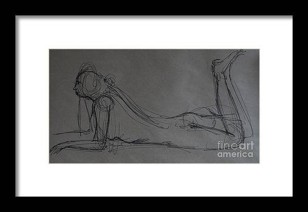 Sketch Of Nude Woman Framed Print featuring the painting Now What by Heather Hennick