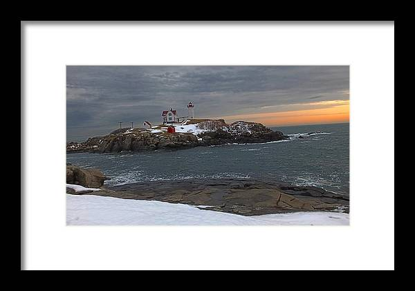 Nubble Light Framed Print featuring the photograph Nubble Light Christmas by Shaundi Kane