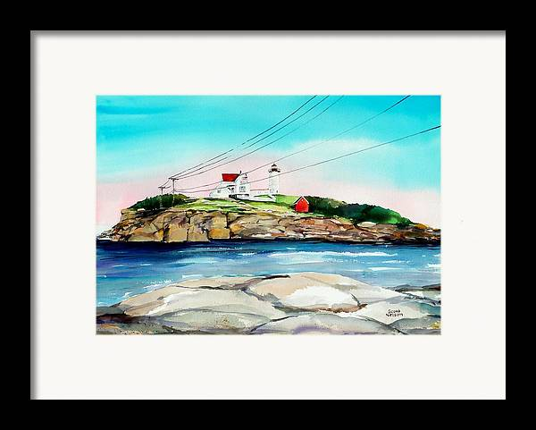 Nubble Lighthouse Framed Print featuring the painting Nubble Lighthouse Maine by Scott Nelson
