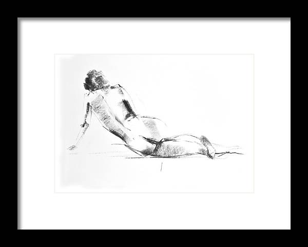 Nude Framed Print featuring the drawing Nude 010 by Ani Gallery
