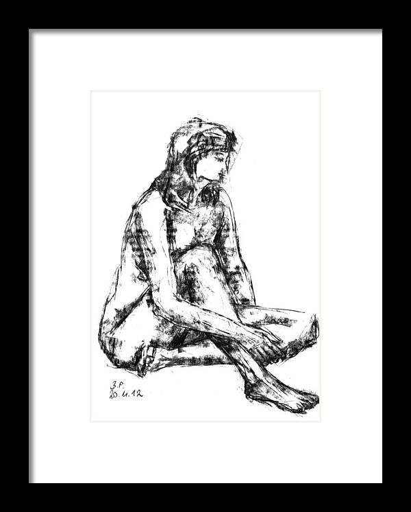 Barbara Pommerenke Framed Print featuring the drawing Nude 20-11-12-2 by Barbara Pommerenke