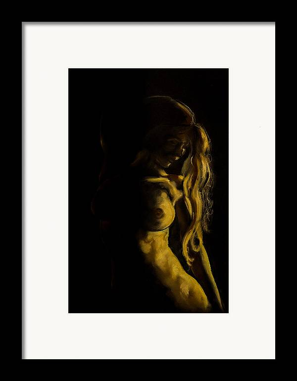 Art Framed Print featuring the painting Nude - Chiaroscuro by Dorina Costras