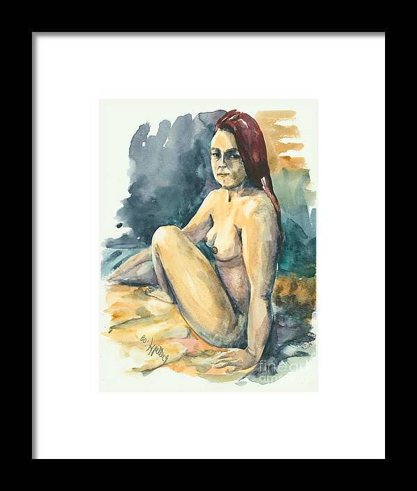Nude Framed Print featuring the painting Nude II by Elisabeta Hermann