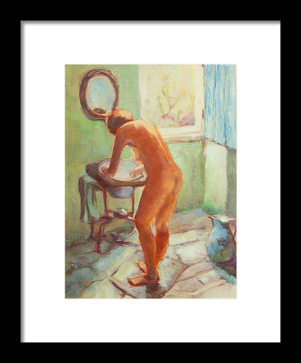 Nude Bathroom Framed Print featuring the painting Nude In The Bathroom by Johannes Strieder