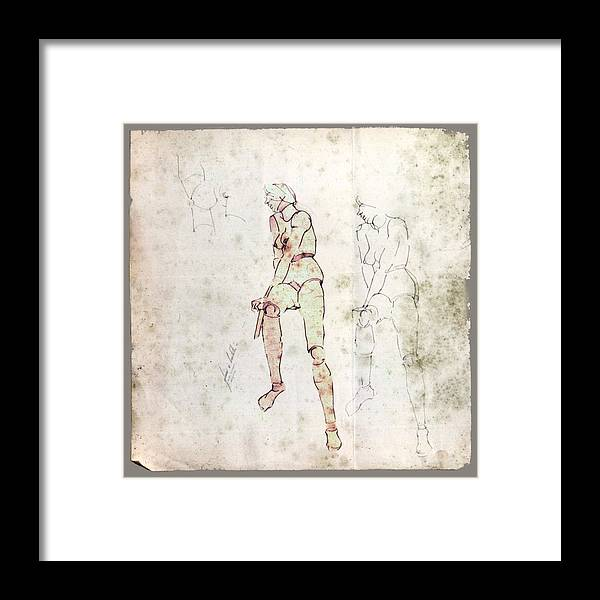 Nude Framed Print featuring the drawing Nude Model 1971 by Glenn Bautista