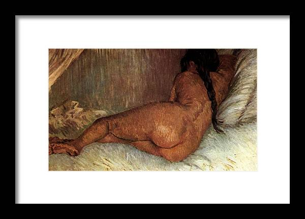 Nude Woman Reclining Framed Print featuring the painting Nude Woman Reclining by Vincent van Gogh