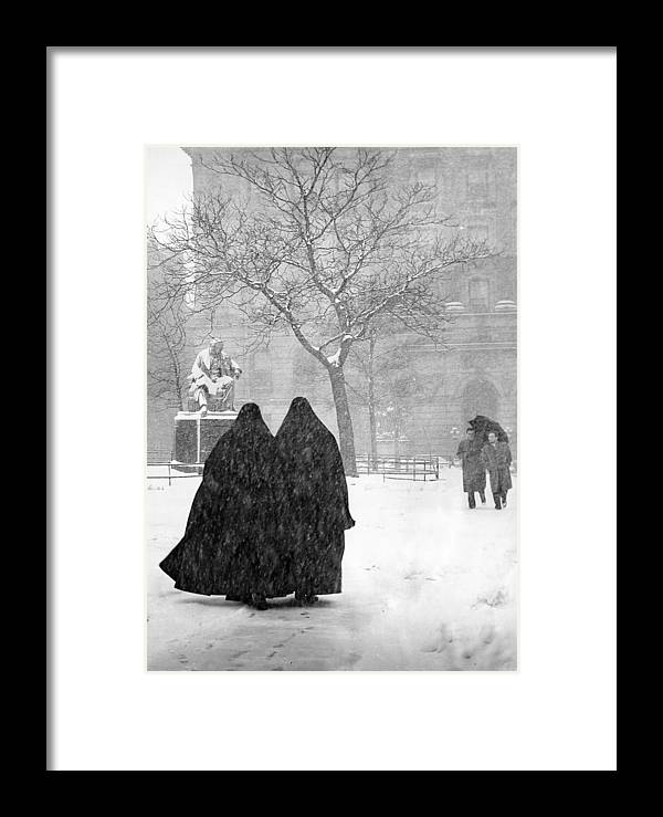 Christmas Framed Print featuring the photograph Nuns In Snow New York City 1946 by Melissa A Benson
