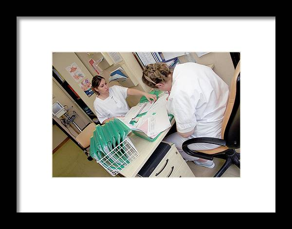 Human Framed Print featuring the photograph Nurses And Hospital Records by Aj Photo/science Photo Library