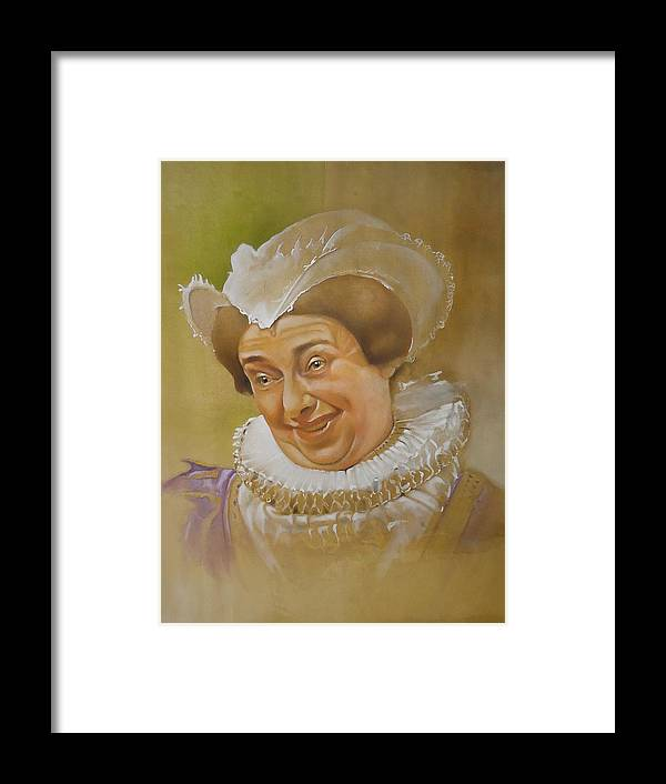 Portrait Acrylic Historic Tudor Comedy Television Series Blackadder Lady Framed Print featuring the painting Nursie II by David Mullins