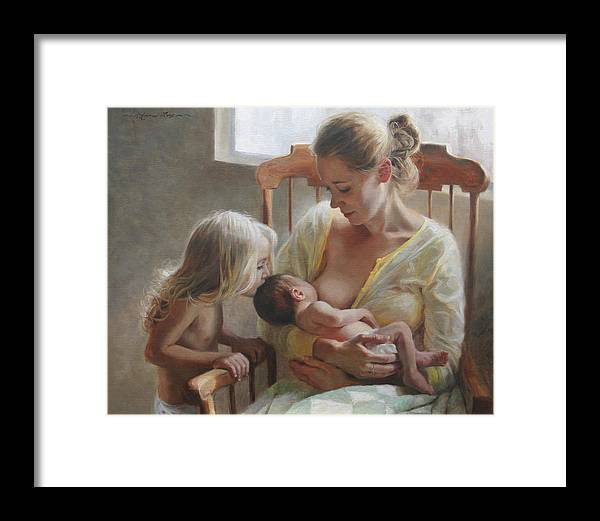 Mother Framed Print featuring the painting Nurturer by Anna Rose Bain
