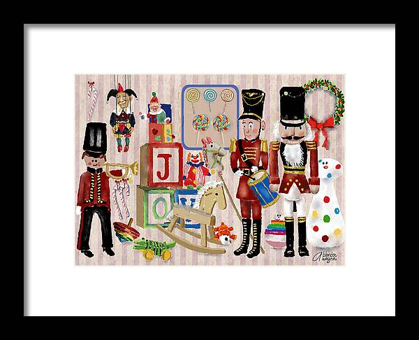 Christmas Framed Print featuring the digital art Nutcracker And Friends by Arline Wagner