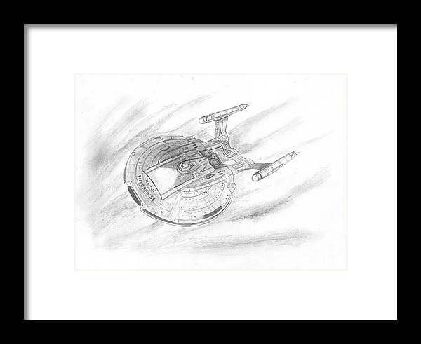 Space Framed Print featuring the drawing Nx-01 Enterprise by Michael Penny