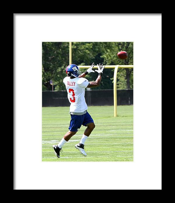 Football Talley Wr Rookie Framed Print featuring the photograph Ny Giants Talley by Edward Kocienski