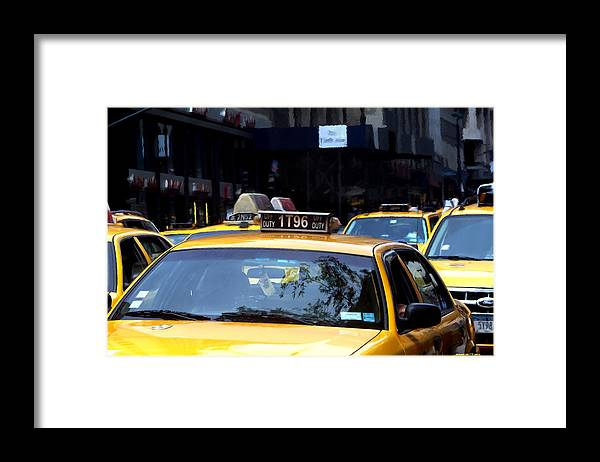 Arte Urbano Framed Print featuring the digital art NY Streets - Yellow Cabs 2 by Gabriel T Toro