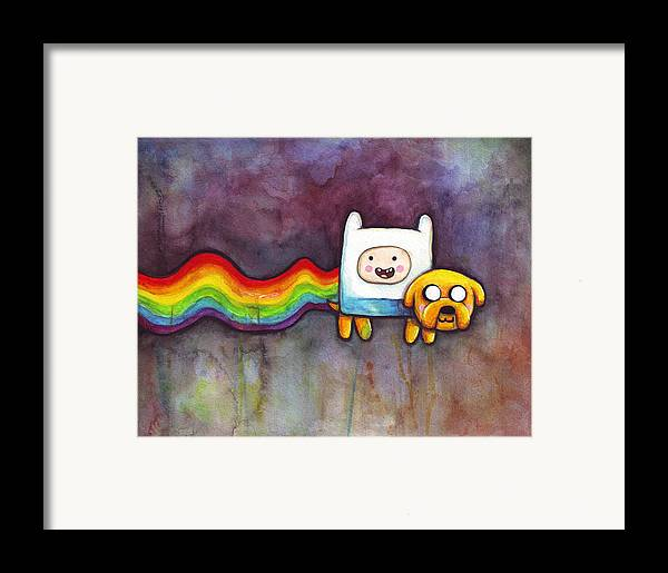 Nyan Cat Framed Print featuring the painting Nyan Time by Olga Shvartsur