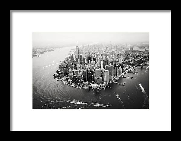 Ny Framed Print featuring the photograph Nyc Manhattan Aerial by Nina Papiorek