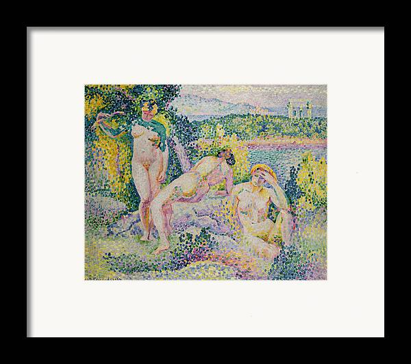 Nymphs Framed Print featuring the painting Nymphs by Henri Edmond Cross