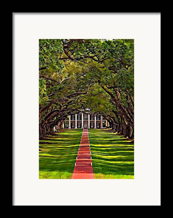Oak Alley Plantation Framed Print featuring the photograph Oak Alley II by Steve Harrington