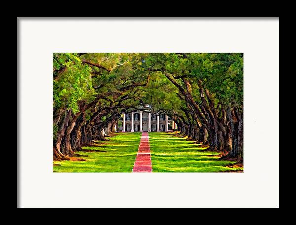 Oak Alley Plantation Framed Print featuring the photograph Oak Alley Paint Version by Steve Harrington
