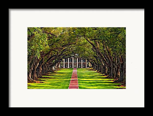 Oak Alley Plantation Framed Print featuring the photograph Oak Alley by Steve Harrington