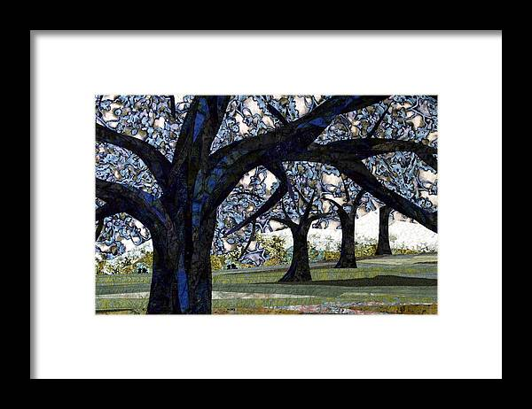Trees Framed Print featuring the tapestry - textile Oak Veiling by Linda Beach