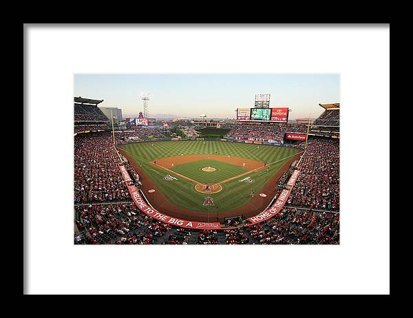 American League Baseball Framed Print featuring the photograph Oakland Athletics V Los Angeles Angels by Jeff Gross