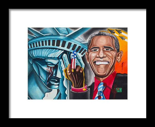 Politics Framed Print featuring the painting Obama by Gary Link White
