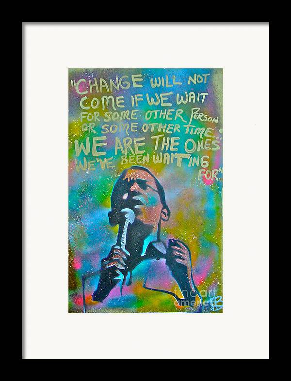 Barack Obama Framed Print featuring the painting Obama In Living Color by Tony B Conscious